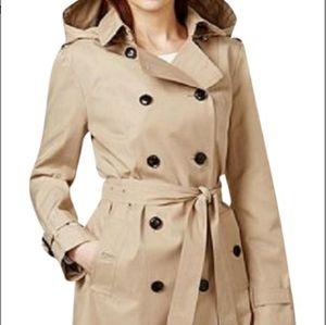 MK Michael Kors Hooded Belted Trench Coat Khaki Sm